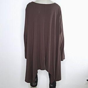 Roaman's Tops - Plus Size 3X Brown Asymmetric Boho Tunic Top 30W